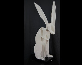 Large Abstract Metal White Rabbit Panited Outdoor Sculpture by Jacob Novinger