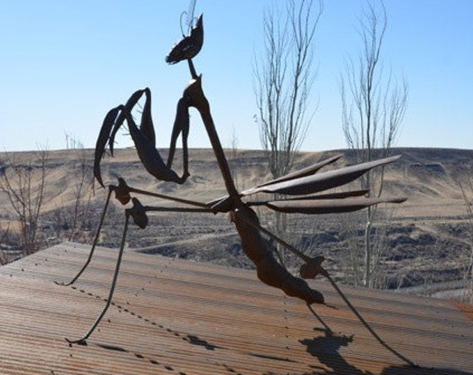 Custom Made Outdoor Metal Praying Mantis Sculpture Made to Order By Jacob Novinger