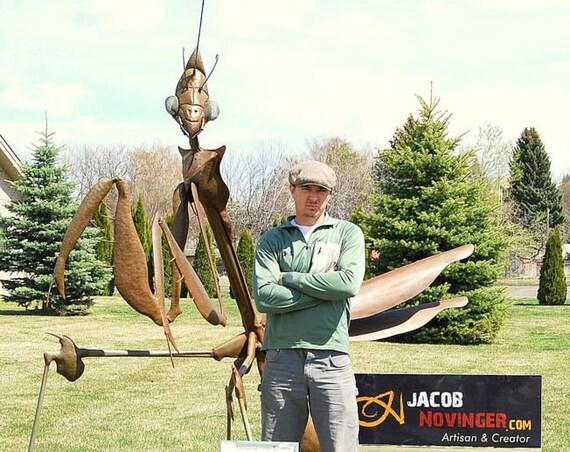 Custom Made Outdoor Metal Praying Mantis Sculpture Made to Order By Jacob Novinger