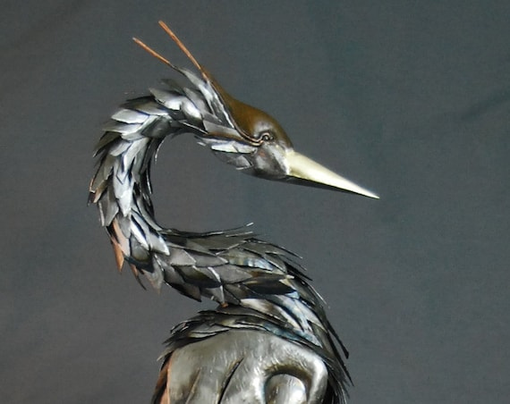 Custom Blue Heron Made to Order Metal Sculpture By Jacob Novinger