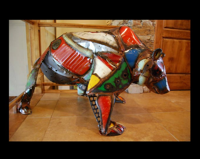 Made to Order Outdoor Metal Bear Cub Sculpture Made Out of Found Objects By Jacob Novinger