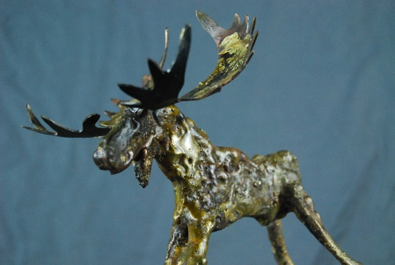 Made to Order Custom Little Long Legged Moose Small Braised on Bronze Metal Sculpture By Jacob Novinger