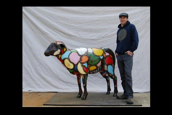 Colorful Large Outdoor Made to Order Life-Size Custom Metal Found Object Upcycled Sheep Art Sculpture Created by Jacob Novinger