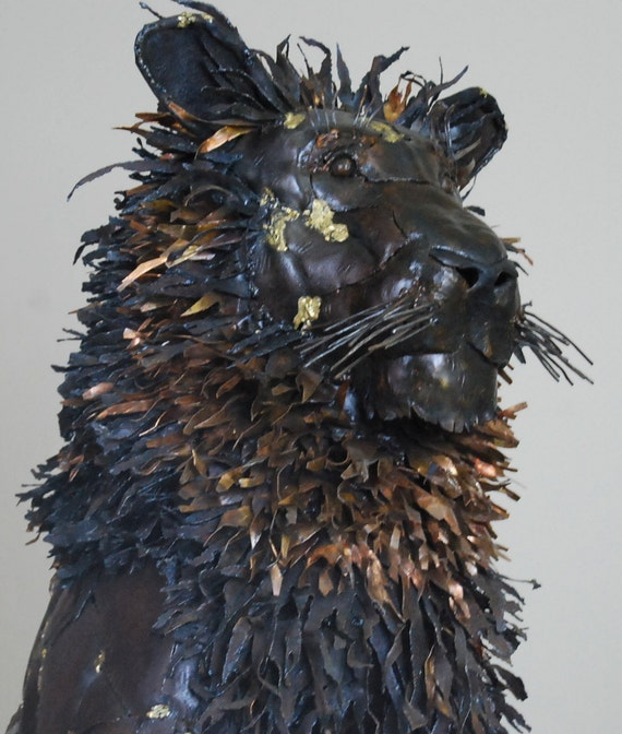 Made to Order Custom Metal Outdoor Lion Sculpture Created By Jacob Novinger Large Sculpture