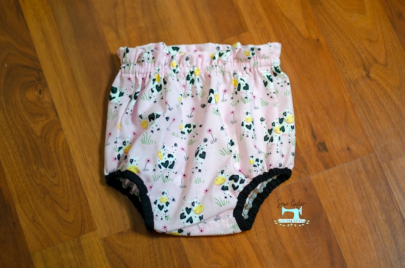 Cow print High Waisted Pink Bloomer Sew Cute Custom Threads Cow Blommer Diaper Cover Bummies