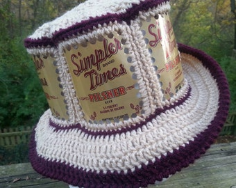 Minhas Craft Brewing Simpler Times Pilsner CanHeads Beer Can Hat - 6 Can Panel Hat - Tan with Maroon Trim