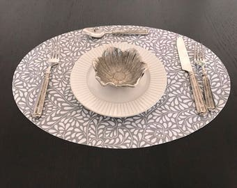 Indoor-Outdoor Provence Easy Care Coated Laminated Wedge Placemats Poppies and Lavender in Gold Placemat for Round Tables