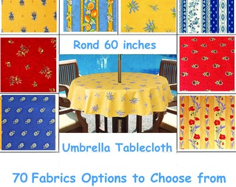 Round Umbrella Tablecloth   Please Choose The Fabric   Coated Water Stain  Resistant   70 Fabrics Options   Umbrella Opening Available