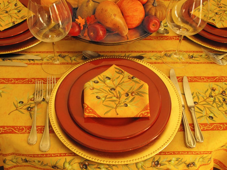 Napkins /& Umbrella Hole available Round Acrylic Coated Wipeable Provence Tablecloth 42 to 63 or Extra Large 115 in diameter available