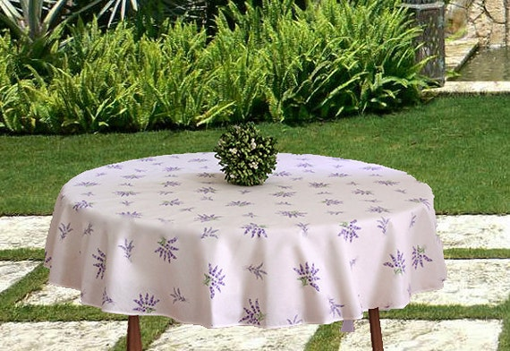 Tablecloth Provence 160 CM Round Grey Christmas from France Non-Iron