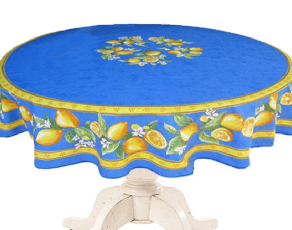 70 Inch Round Table Cloth.70 Inches Round Tablecloth Provence Oilcloth Lemons In Blue Ready To Ship Matbhing Napkins Available