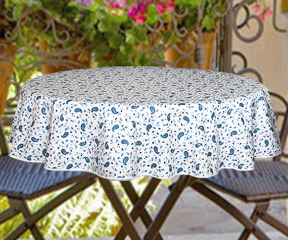 Water /& Stain Resistant Tablecloth Laminated Outdoor Tablecloth 60 in Round Umbrella Coated Tablecloth  Provence Lemons in Blue