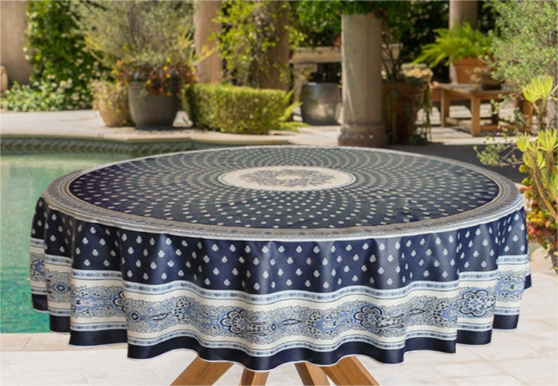 70 Inch Round Table Cloth.Indoor Outdoor Marine And Off White Nimes Round Tablecloth 70 Inches Round Umbrella Hole Available