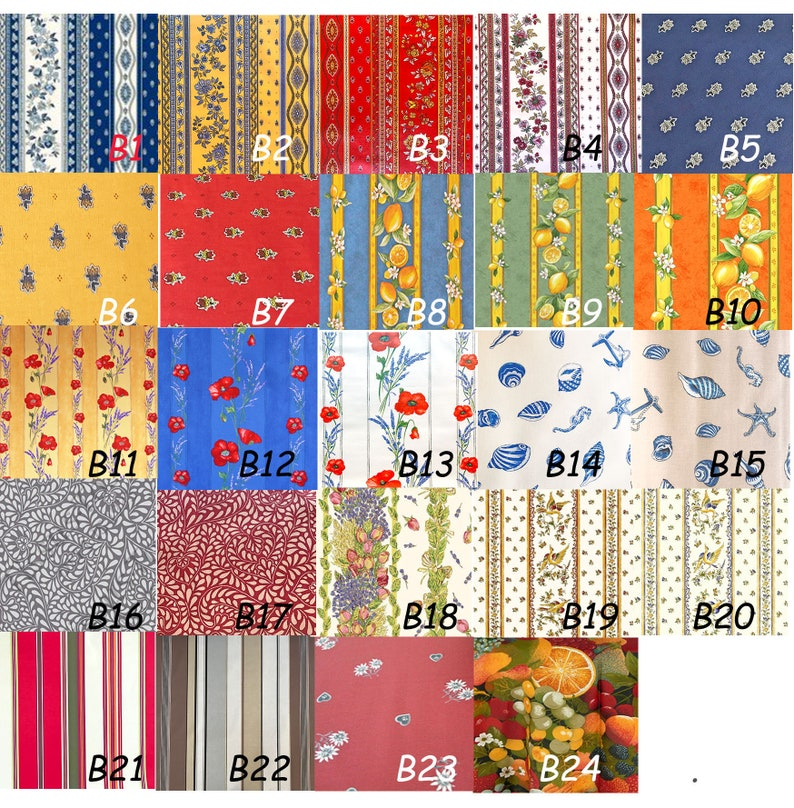 Umbrella Tablecloth Square Rectangle or Oval Outdoors Easy Clean Table Cloth Wipeable Laminated Wipe Clean French Provence TableCloth