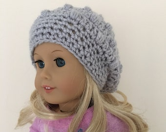"""Grey doll hat, 18""""doll hat, doll slouchy hat, doll hat, doll accessories, crochet doll hat, dolls clothes, cream, (will fit American Girl)"""