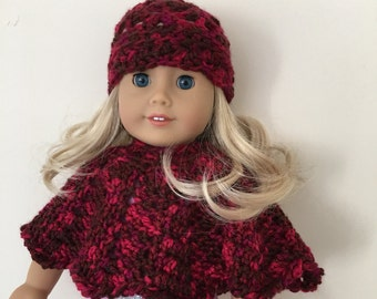 18 inch doll outfit, doll clothes, doll hat, doll poncho, American Girl, Gotz Precious day, doll outfit, toy, doll, red multicoloured yarn,
