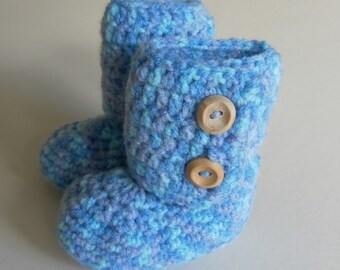 Blue multi-coloured baby booties, blue baby booties, crib shoes, crochet baby booties, unique baby booties, baby button up booties,