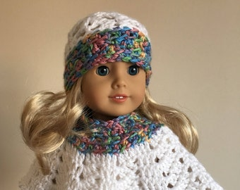 White 18 inch doll hat & poncho set  with multicoloured trim, will fit American girl doll), doll clothes, doll hat, doll poncho, American Gi