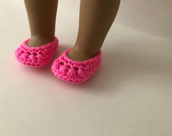8392453b6d3d2d Schoenen te passen 18 inch pop pop. Gehaakte helder roze schoenen. Roze pop  schoenen. 18 inch doll schoenen (past American Girl pop)