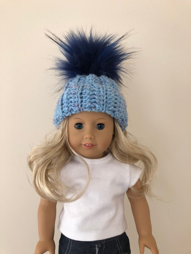 79680e957 18 inch doll hat, blue doll hat, doll accessories, crochet doll hat, dolls  clothes, blue, (will fit American Girl doll).