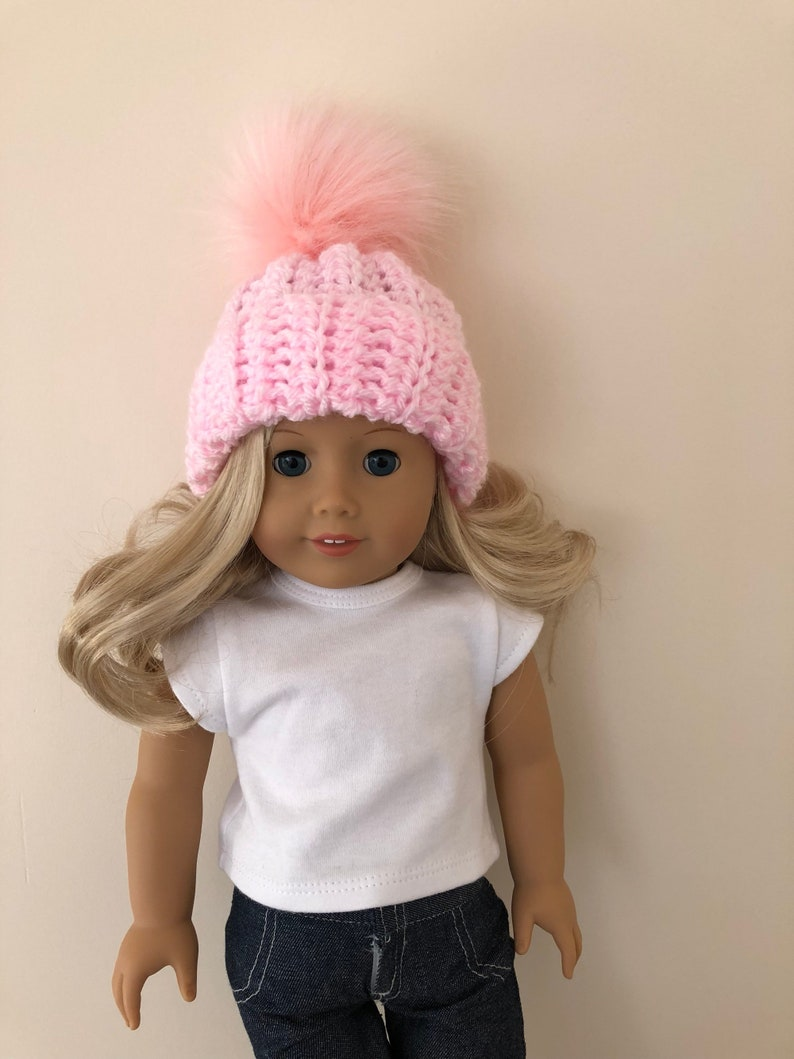 e2e8c2039 18 inch doll hat, pink doll hat, doll accessories, crochet doll hat, dolls  clothes, pink, (will fit American Girl doll).