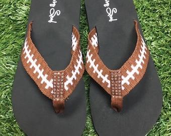 896edbe8610274 Cocomo Soul Football Fabric Stitch FLAT Flip Flops Size 6 7 8 9 10 11 12  NEW Sandals Thongs Sports Sandals