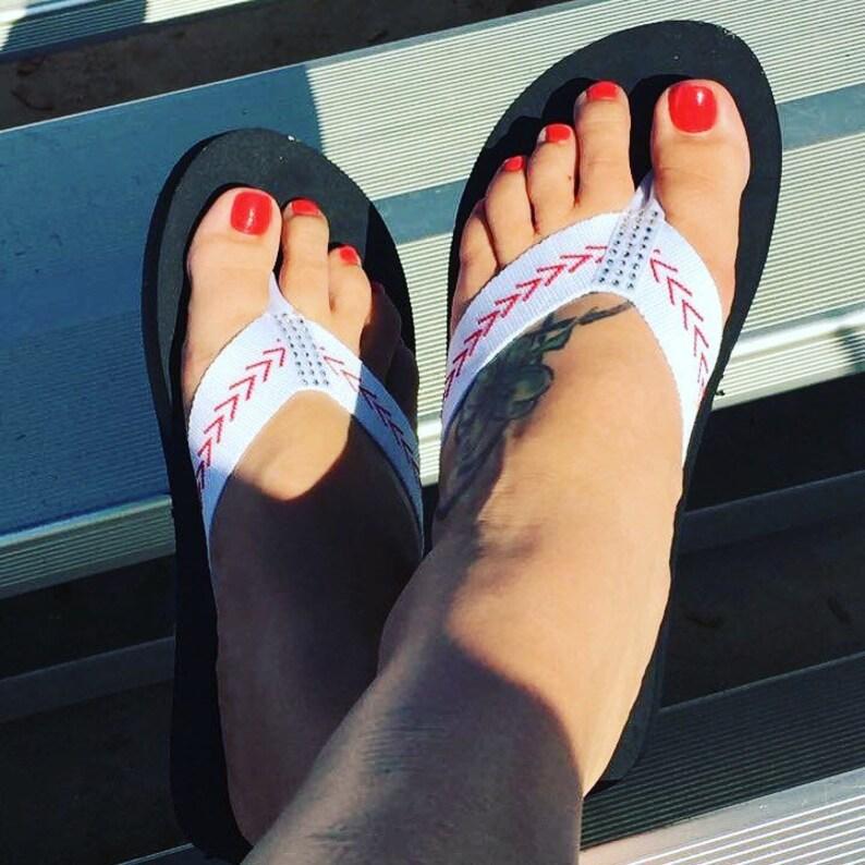 78015046f3936b Baseball Sandals Baseball Flip Flops Fabric Stitch FLAT Size 6