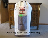 Graduation Gift, Large Personalized Laundry Bag, Monogrammed Laundry Bags, College Dorm Heavy Duty Canvas Laundry Bags, Senior Gifts