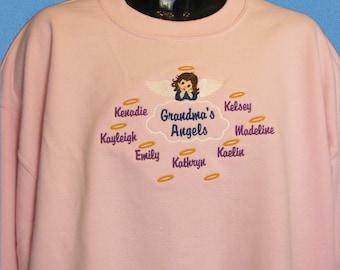 Grandma Shirt, Grandma's Angels Personalized Grandmother Sweatshirt - Grandchildren Shirt  - Grandma Valentine Gift, Grandparent Shirt Gift