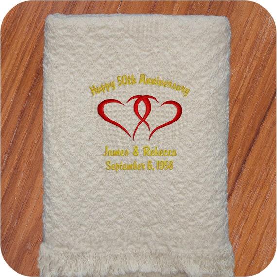 Personalized 25th 50th Anniversary Wedding Gift Fleece Throw Blanket 50 x 60