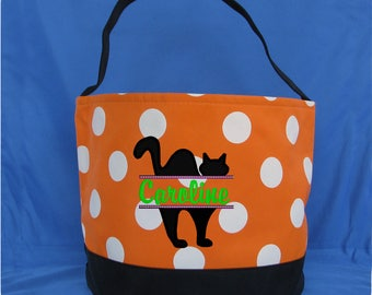 White Polka Dot Embroidered Halloween Bucket - Personalized Trick or Treat Bag - Monogrammed Halloween Bag - Halloween Candy Bag