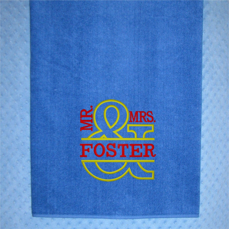 088eff3fa3bf Monogrammed Beach Towels for Mr and Mrs Gifts Bridesmaids and
