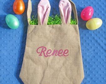 Personalized Easter Basket, Easter Bunny Bag, Girl Easter Basket, Burlap Easter Basket, Monogrammed Easter Tote, Easter Bunny Basket, Boy