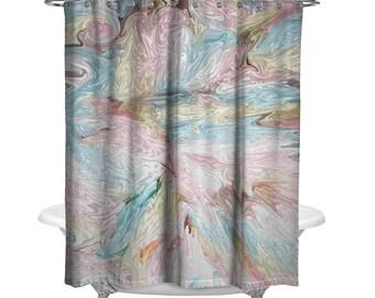 Pastel Cotton Candy Shower Curtain W Bathmat Set Options