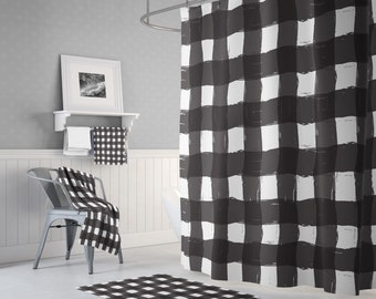 Kellys Black And White Buffalo Plaid Shower Curtain