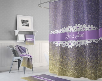 Personalized Chic Shimmer Shower Curtain W Bathmat Set Options
