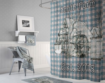 Personalized Farmhouse Blue Plaid Shower Curtain