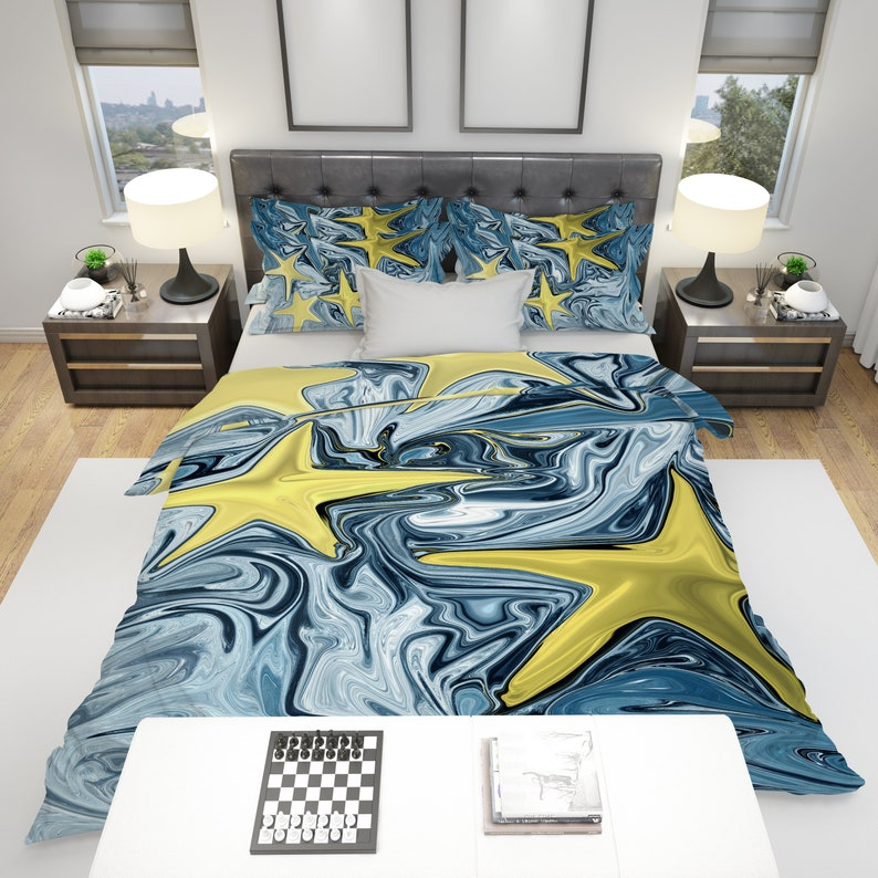 Bedding Blue And Yellow Comforter Or Duvet Cover With Shams Abstract Blue Winter Night Bedding Twin Queen King Size