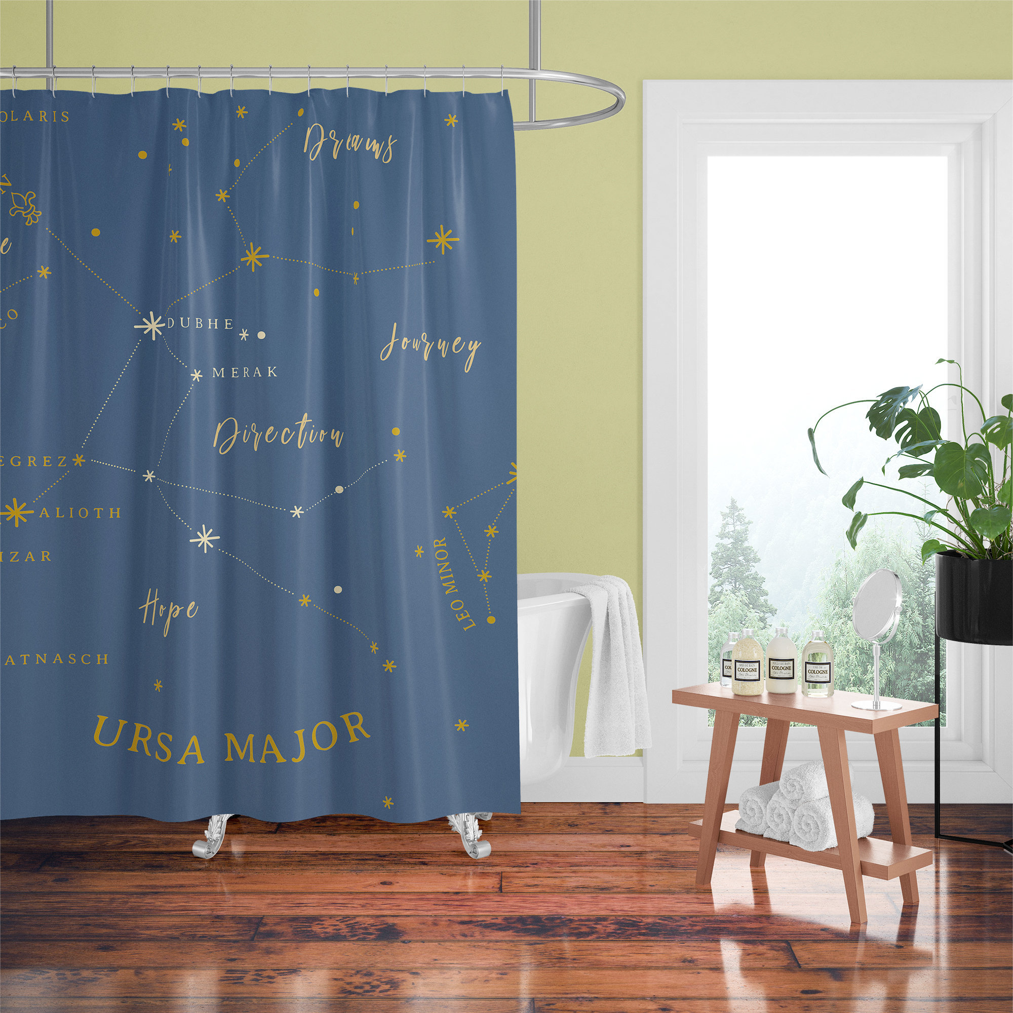 Constellation Shower Curtain Ursula Major Design Navy Blue