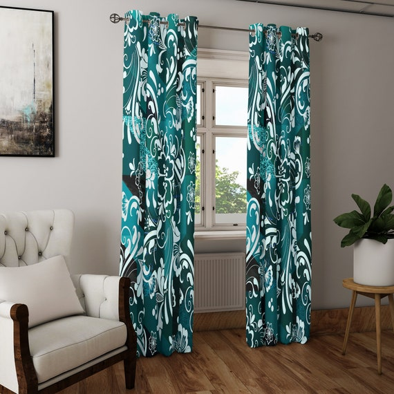 Green And Teal Damask Style Window Curtains Long Panel Sheer And Block Out Curtains Living Room Curtains Colorful Interior Curtains