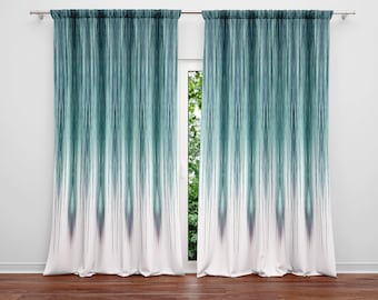 Peacock Rain Window Curtain Panels | Long Panel Lined, Unlined and Blackout Curtains | Long Panel Options | Blue, Teal, White