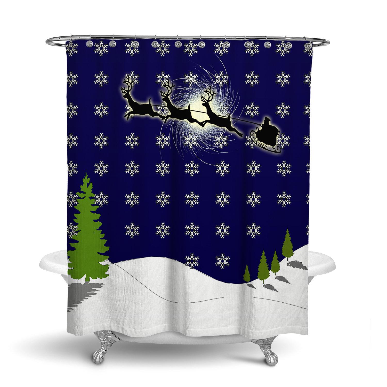 Christmas Shower Curtain W Bathmat Set Options Santa S Sleigh Snow Flake Pattern Holiday Shower Curtain