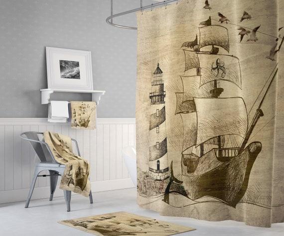 Nautical Ship Shower Curtain Waterproof Fabric Set Polyester Sheer Bath Decor
