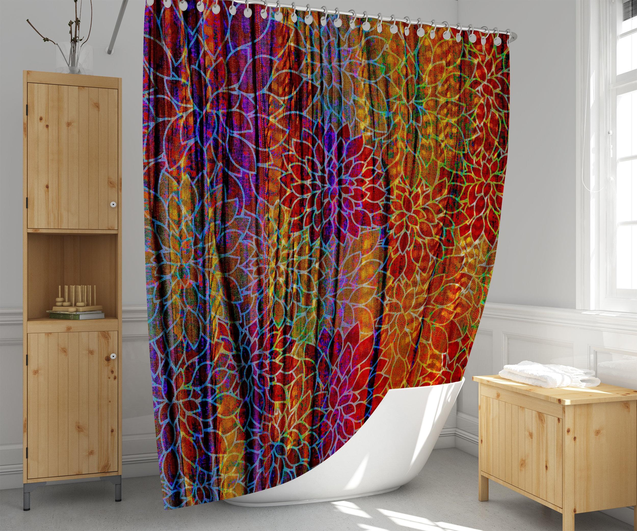 Wavy Boho Shower Curtain Burgundy And Brown Custom Floral Pattern Bathmat Option