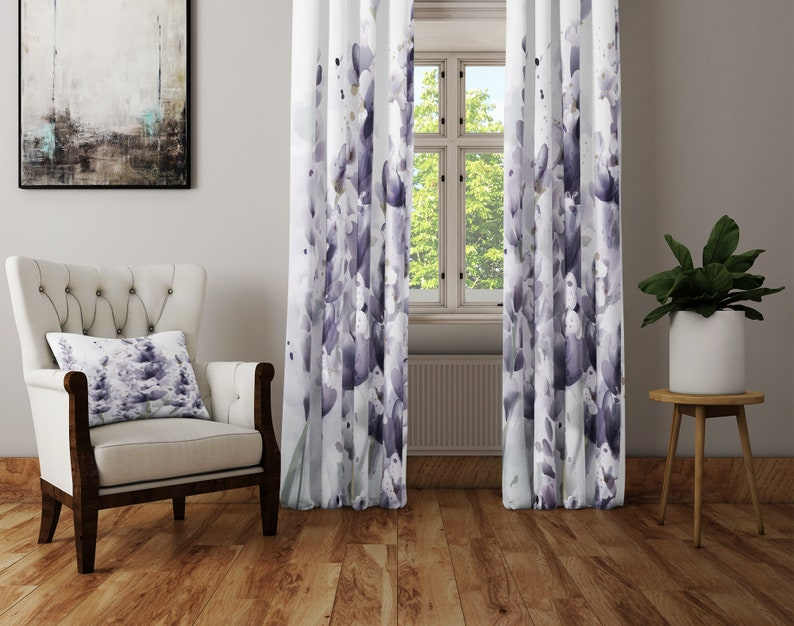 Lined and Sheer Panels Chic Watercolor Lavender Floral Window Curtains