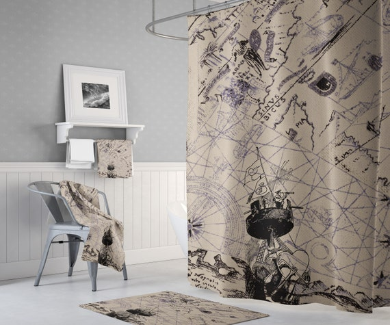 Vintage Nautical Map Shower Curtain