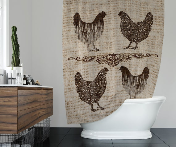 Deer Shower Curtain Artful Xmas Animal Rustic Print for Bathroom