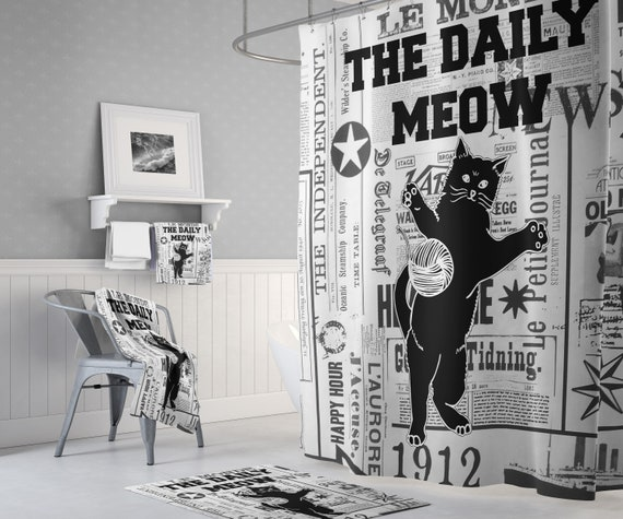Black and White Newspaper Shower Curtain | The Daily Meow - Cat Bathroom Decor