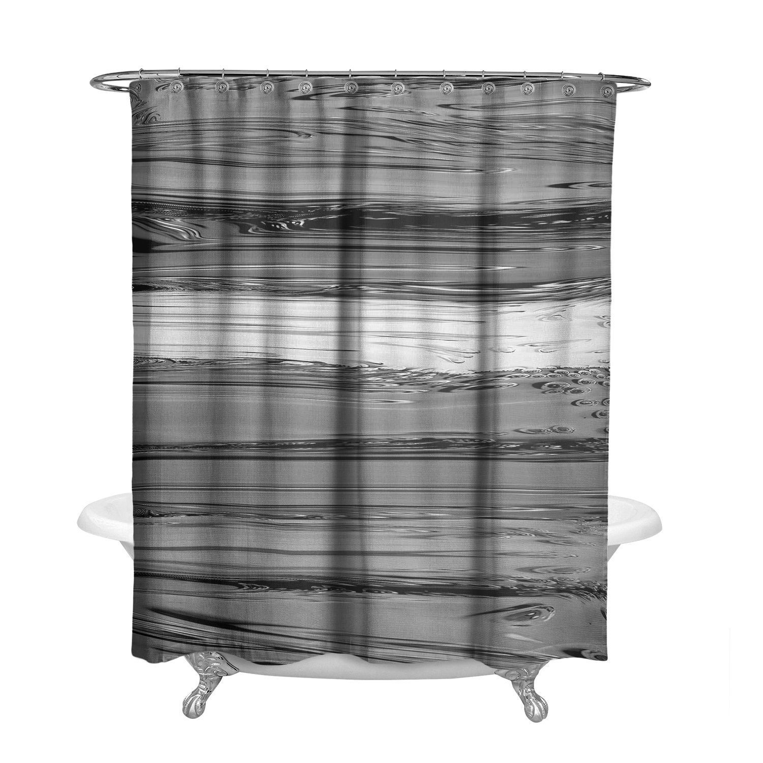 Gray Scale Monochrome Striped Shower Curtain W Bathmat Set Options Black And White Bath Curtain Striped Paint Design