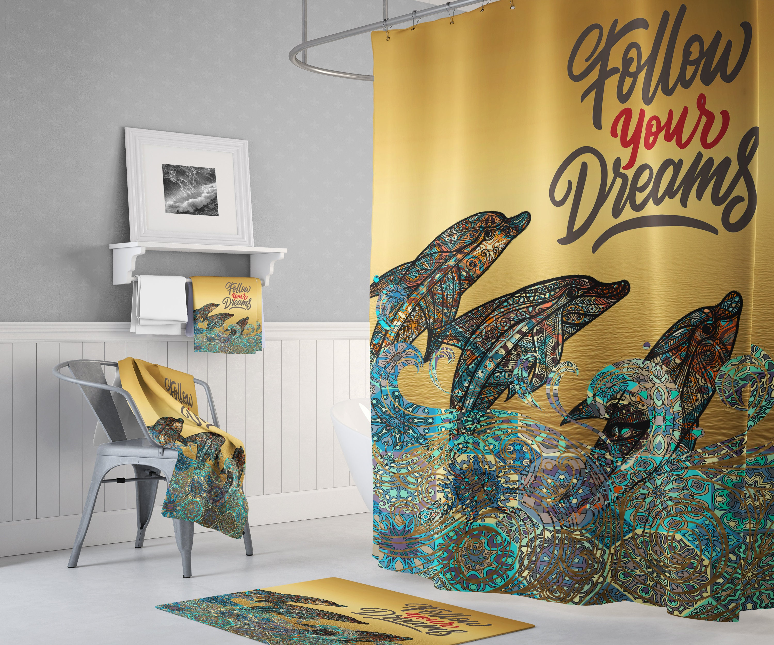 Boho Dolphin Shower Curtain Follow Your Dreams Mandala Pattern Dolphin Shower Curtain
